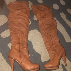 Shoes - Tan Over the Knee Boots